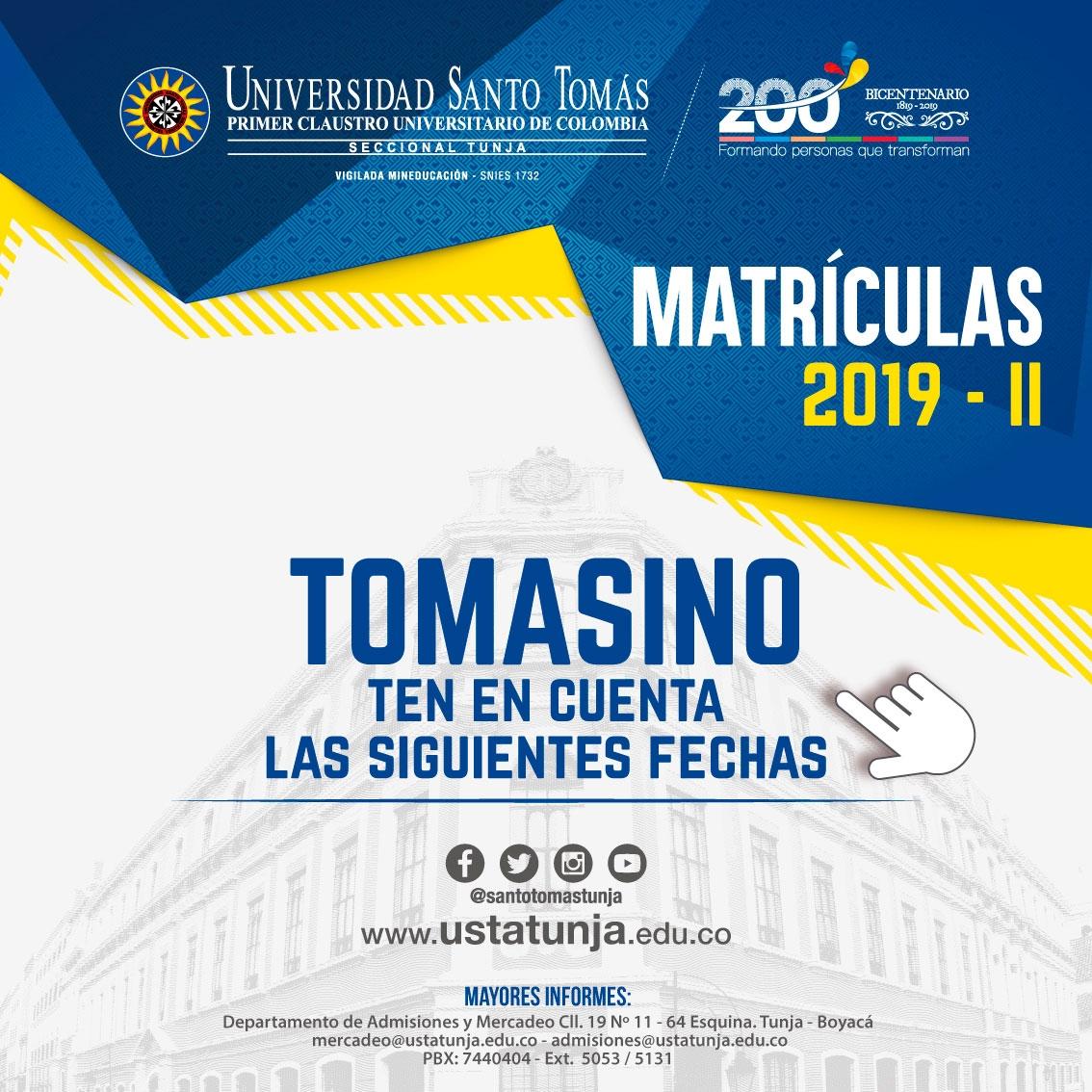 Proceso de Matrícula Segundo Semestre Académico 2019 Pregrado